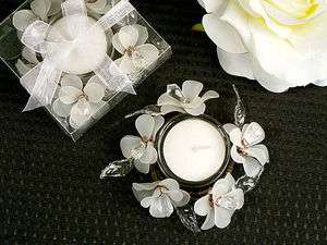 BRIDAL SHOWER FAVORS TABLE DECOR WHITE FLOWER CANDLE HOLDERS