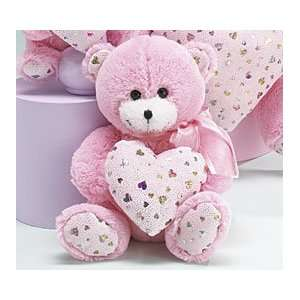 PINK TEDDY BEAR 8 PLUSH With Holographic Hearts HAPPY