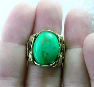 R494 Apple Turquoise Ring 14k Gold Filled Mens Ladies