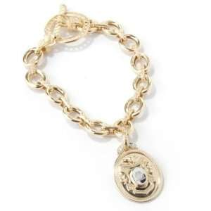 White / Yellow Gold 8 Diamond Accent Shield Charm Bracelet Jewelry