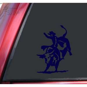 Bull Rider Riding Rodeo Vinyl Decal Sticker   Dark Blue