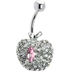 Pink Gem Apple Belly Ring Jewelry