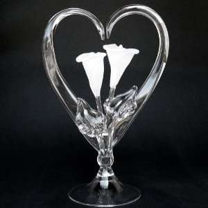 Calla Lily Lilies Blown Glass Wedding Cake Topper Frosted