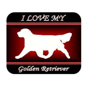 Love My Golden Retriever Dog Mouse Pad   Red Design