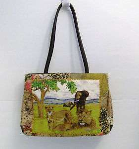 AFRICAN WILDLIFE Animal Scene Purse w. accessories Beaded Details, NEW