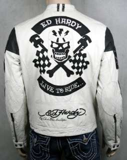 Ed Hardy Mens LEATHER biker Jacket RACE N PISTON Skull