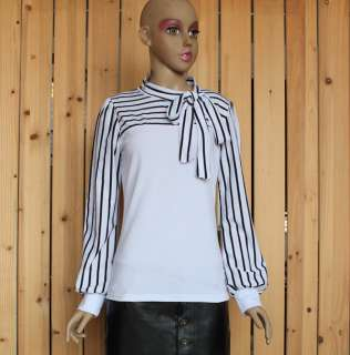 Vintage Stylish Korea Women Stripes Top Long Sleeve Bowknot Blouse