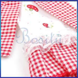 Red Checked Trim Pet Dress Dog Skirt Clothes w Bowtie Cool Apparel S