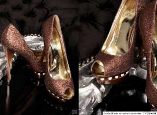 BRONZE STILETTO PUMPS PLATEAU PEEP TOE GLANZ GLITZER SCHUHE 38