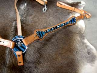 Hair on Blue Zebra western Saddle Breast Collar Tack