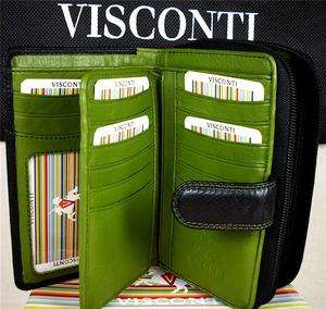 VISCONTI LADIES PURSE WALLET SOFT LEATHER BLACK/GREEN gift box BNWT