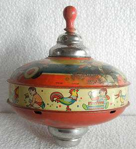 Airplane, Train, Ship Litho Print Spinning Top Tin Toy, Germany