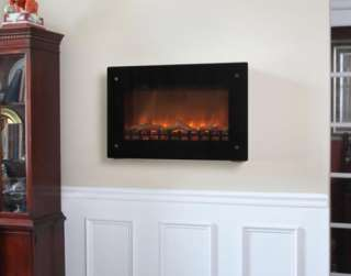 black wall mounted electric fireplace 1350 watt space heater