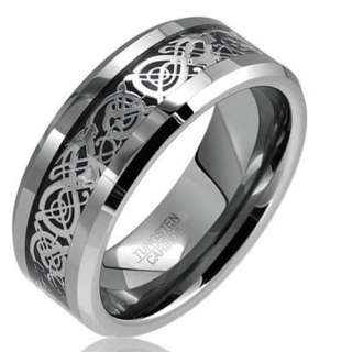 Dragon Tungsten Carbide Celtic Ring Mens Jewelry Wedding Band Silver