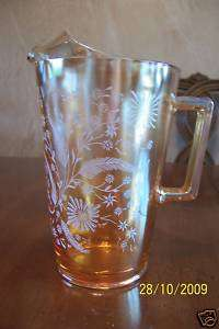 JEANNETTE CARNIVAL GLASS PITCHER LATE DAISY MARIGOLD