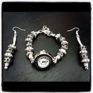 EUROPEAN EARRING & WATCH CHARM BRACELET SET Arts, Crafts & Sewing