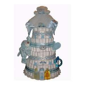 5 Tier Blue Bear Diaper Cake Baby