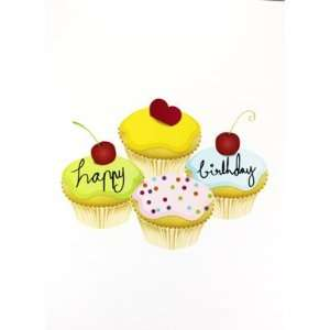 Recordable Greeting Card   Happy Birthday Cup Cakes 6 X 8