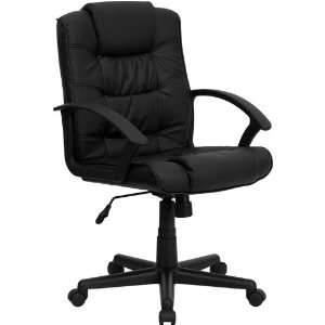 Mid Back Black Leather Office Chair   Flash Furniture GO