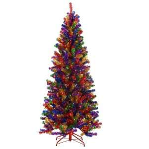 Multi Paradise Tinsel Artificial Christmas Tree with Clear Lights