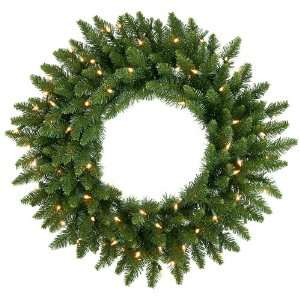24 Pre Lit Camdon Fir Artificial Christmas Wreath   Clear