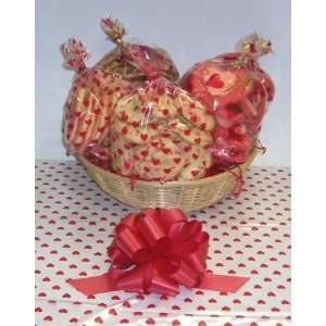 Valentines Day Cookie Lovers Basket with no Handle Heart Wrapping
