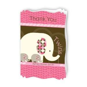 Pink Baby Elephant   Personalized Baby Thank You Cards