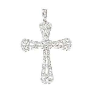 0.47CTW 14K White Gold Genuine Diamond Cross Pendant Jewelry
