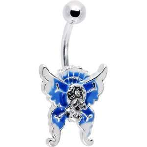Skull Surrender Blue Butterfly Belly Ring Jewelry