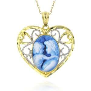 com 10K Two Tone Gold Framed Heart Shaped Cameo Pendant   3/8 x 1/2