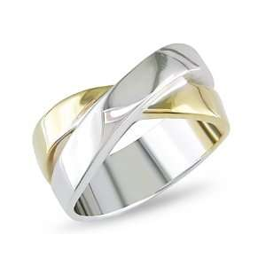 Criss Cross Fashion Ring in 14k Two Tone Gold Jewelry