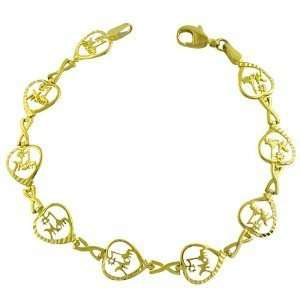10K Yellow Gold Diamond Cut I Love Mom Bracelet Katarina Jewelry