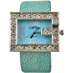 Fashion Watch with Swarovski Crystals / Genuine Stingray Leather Band.