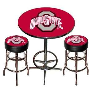 NIB Ohio State Buckeyes OSU Chrome Pub Table & Chairs
