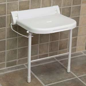 Large Wall Mount Folding Shower Seat with Legs   ADA Compliant   White