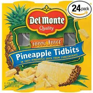 Fruit Naturals Pineapple Packed in Juice, 4 Ounce Packages (Pack of 24