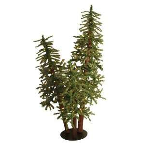 5 Pre Lit Natural Alpine Artificial Christmas Tree Trio