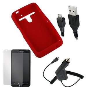 Skin Cover Case (Red) + Clear LCD Screen Protector + Home Wall Travel