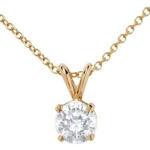 14k Yellow Gold, Round Diamond Solitaire Pendant with Chain (0.50 ct)