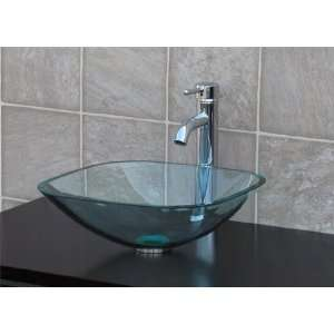1/2 Thick clear Square Glass Vessel Sink + chrome Faucet