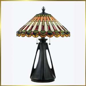 Tiffany Table Lamp, QZTF131TVA, 2 lights, Antique Bronze, 18 wide X