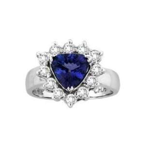 14k White Gold Trillion Tanzanite and Diamond Ring 2.27 CT TW Jewelry
