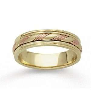14k Two Tone Gold Fine Twist Hand Carved Wedding Band Jewelry