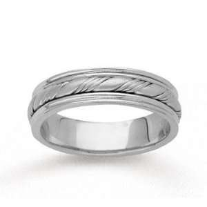 14k White Gold Fine Twist Hand Carved Wedding Band Jewelry