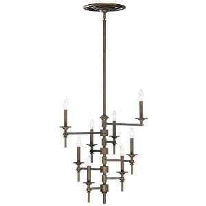 Omega Art Deco Modern Oiled Bronze 8 Light Chandelier