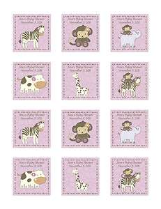 CoCaLo Jacana Girl Baby Shower Stickers   Zebra, Giraffe, Monkey
