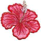 Red Hibiscus w/Gold Metallic(Large​)/ Iron On Embroidered Applique