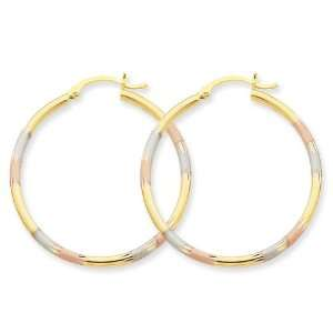 14k Gold Tri color 2mm Diamond cut Earrings Jewelry